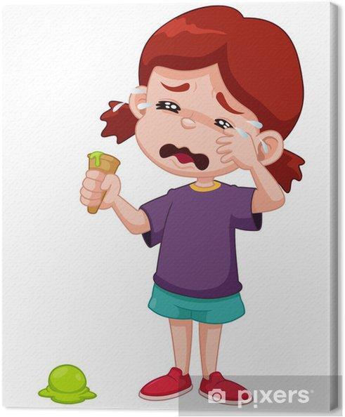 Obraz na płótnie Ilustracja Cartoon dziewczyna płacze z kropli lodów - Dzieci