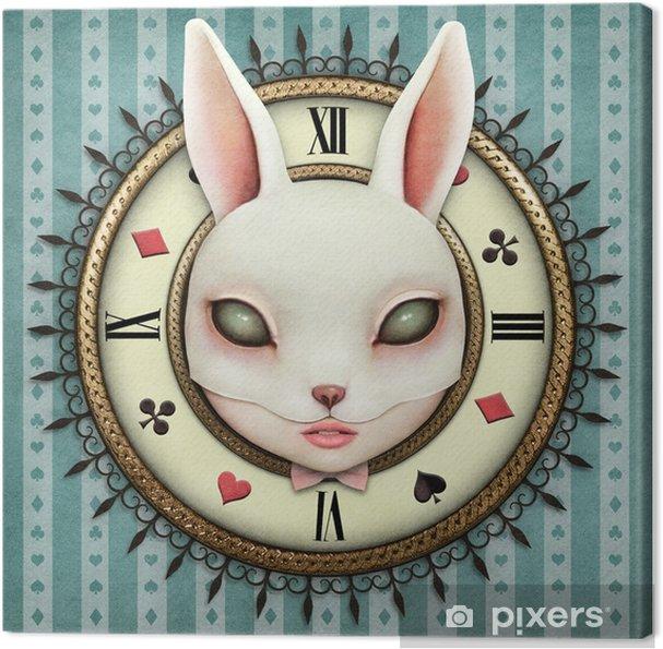 Obraz na płótnie Ilustracja fantasy z kieszonkowego watch wonderland i maską głowy dziewczyny bunny - Hobby i rozrywka