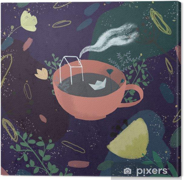 Obraz na płótnie Ilustracja kubka abstrakcyjnego tła - Środowisko