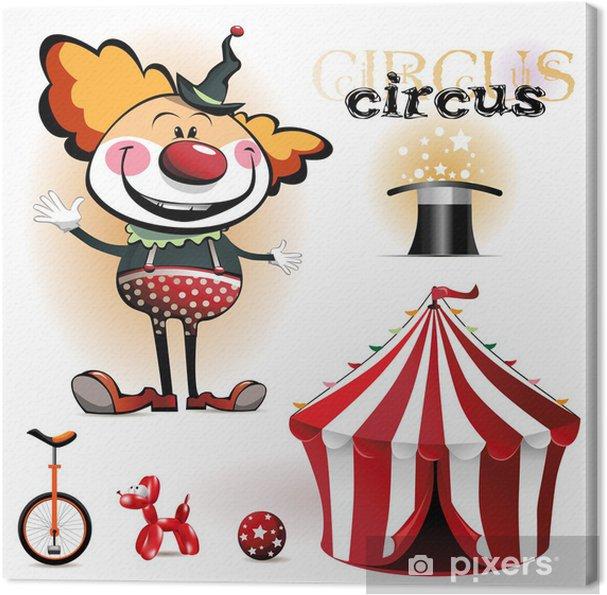 Obraz na płótnie Ilustracja namiot cyrkowy, klaunów - Rozrywka