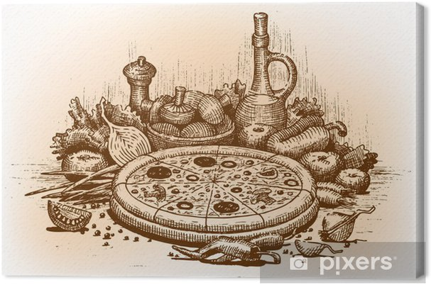 Obraz na płótnie Ilustracja rysowane ręcznie Pizza - Do pizzerii