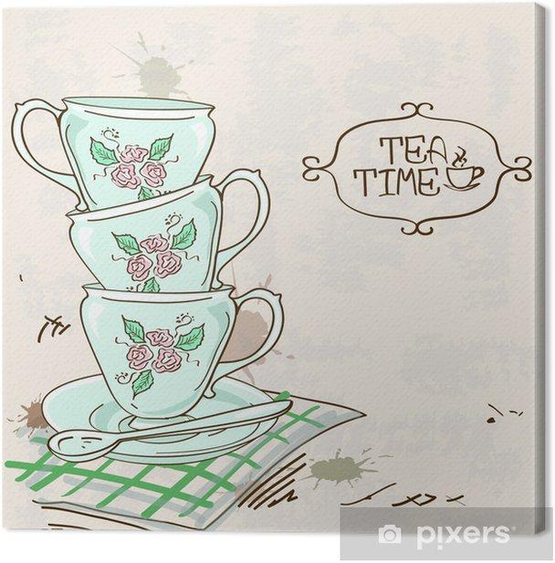 Obraz na płótnie Ilustracja stos filiżanki herbaty - Tematy