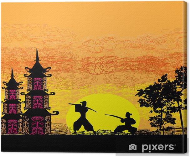 Obraz na płótnie Ilustracja Sylwetki dwóch ninja w pojedynku - Tematy