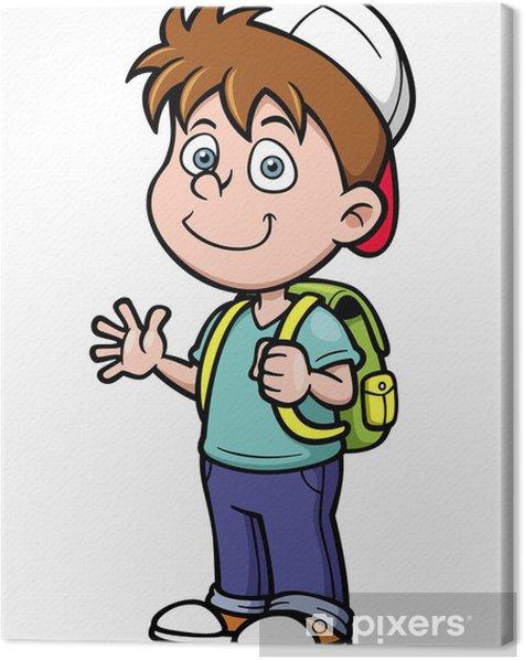 Obraz na płótnie Ilustracja wektorowa chłopca iść do szkoły - Naklejki na ścianę