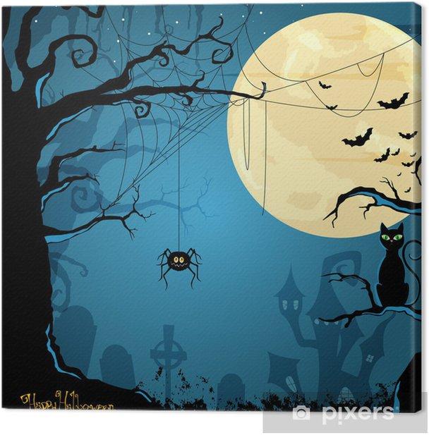 Obraz na płótnie Ilustracja wektorowa z Halloween w tle - Święta międzynarodowe