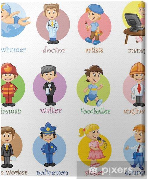 Obraz na płótnie Ilustracja wektorowa z ludźmi z różnych branż - Ludzie w pracy