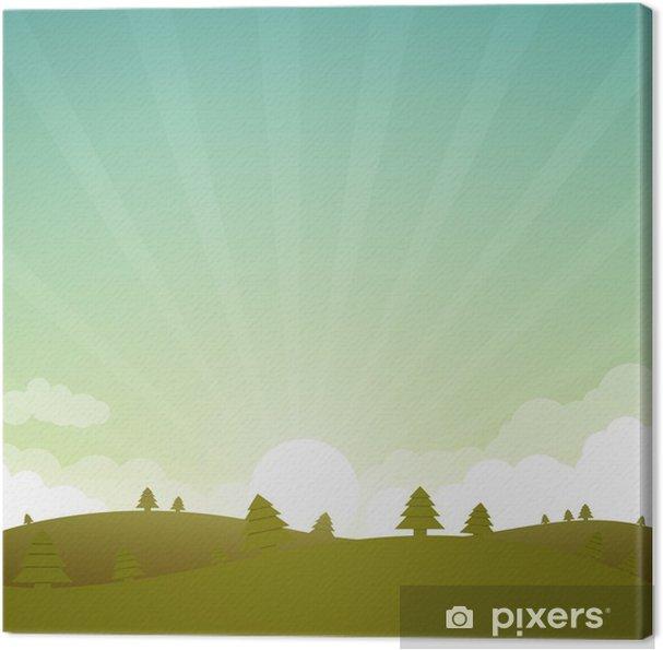 Obraz na płótnie Ilustracja wektorowa zielony krajobraz - Pory roku