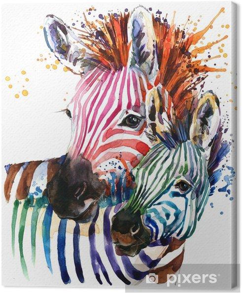 Obraz na płótnie Ilustracja zebra z akwarela tekstury rozchlapać. tęcza tło do druku mody, plakat do tekstyliów, projektowanie mody - Zwierzęta