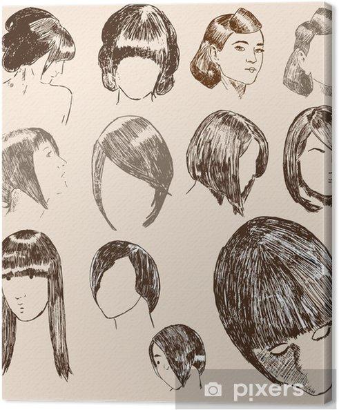 Obraz na płótnie Ilustracje fryzury kobiet - Części ciała