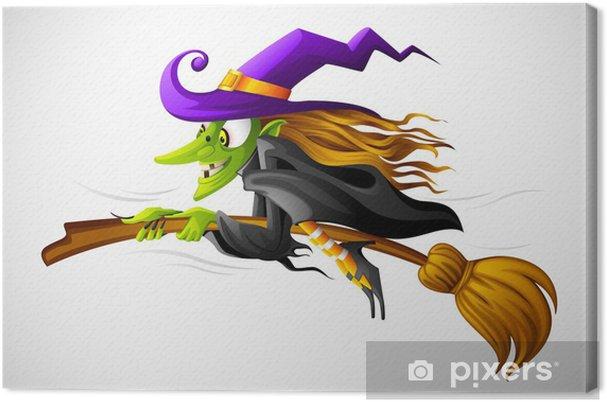 Obraz na płótnie Ilustracji wektorowych Halloween Witch latania na miotle - Sztuka i twórczość