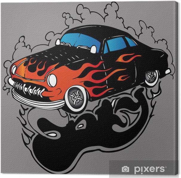 Obraz Na Płótnie Ilustracji Wektorowych Tatuaż Samochód Wyścigowy