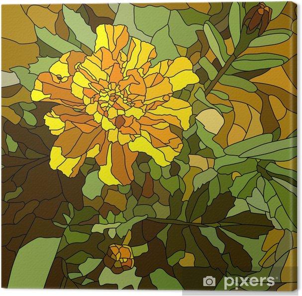 Obraz na płótnie Ilustracji wektorowych z kwiatów nagietka żółty. - Kwiaty