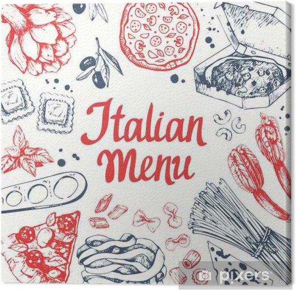 Obraz na płótnie Ilustracji wektorowych z maszyn makaron, ravioli i warzyw. - Jedzenie