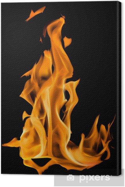 Obraz na płótnie Ilustracji z samodzielnie na czarnym pomarańczowym ogniem - Tekstury