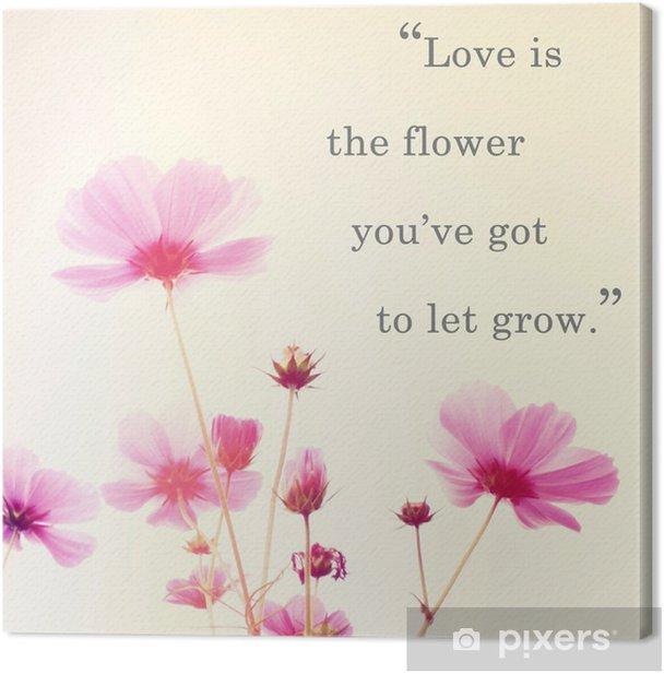 Obraz na płótnie Inspirujące słowo cytat Johna Lennona i różowy kwiat kwiatów - Tematy