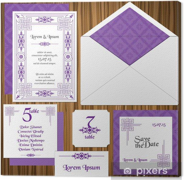 Obraz Na Płótnie Invitation Card Wedding Set Classic Zaproszenie Style W Wektorze