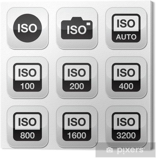 Obraz na płótnie ISO - kamery filmowej prędkości standardowe przyciski ustawić - Znaki i symbole