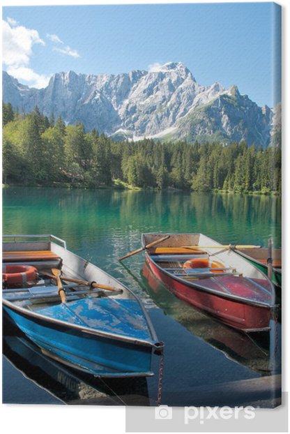Obraz na płótnie Italia - Udine - Lago di Fusine e monte Mangart z łodzi wiersz - Europa