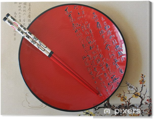 Obraz na płótnie Japoński, czerwony okrągły półmisek - Posiłki