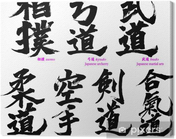 Obraz na płótnie Japoński kaligrafia japońskich sztuk walki - Znaki i symbole