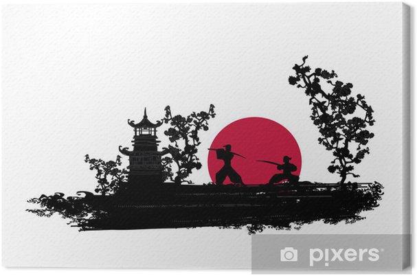 Obraz na płótnie Japoński samuraj wojownik sylwetka - Style