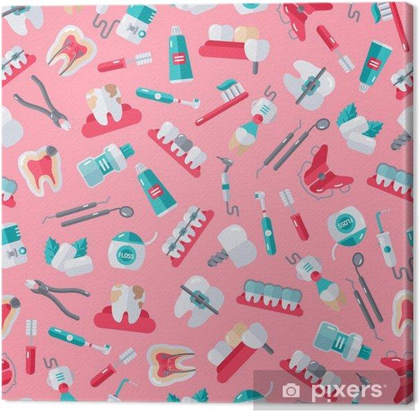 Obraz na płótnie Jednolite Dentysta Wzór na różowym tle - Nauka