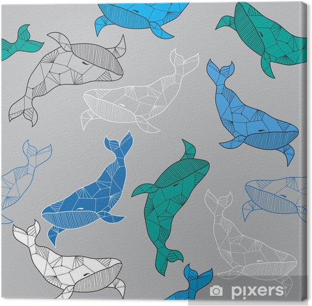 Obraz na płótnie Jednolite wzór morze z ręcznie rysowane wielorybów - Zwierzęta
