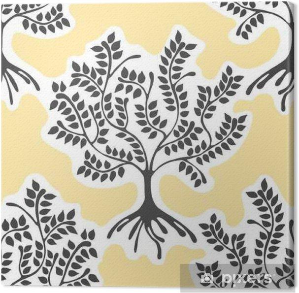 Obraz na płótnie Jednolite wzór, ręcznie rysowane wektor ilustracji powtarzając dekoracyjne ozdobne stylizowane niekończące drzew żółty, niebieski abstrakcyjne tło, Seamles graficzny artystycznych ilustracji rysowanie linii sylwetkę - Zasoby graficzne