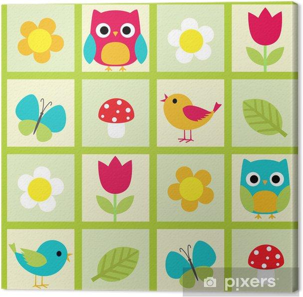 Obraz na płótnie Jednolite wzór wektor z ptaków i kwiaty - Dla przedszkolaka