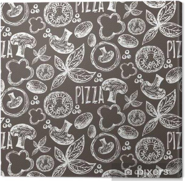 Obraz na płótnie Jednolite wzór wyciągnąć rękę wyśmienitą pizzę z pomidorami, Mozza - Jedzenie