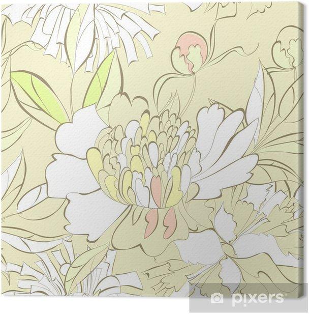 Obraz na płótnie Jednolite wzór z ozdobnymi kwiatami - Tła