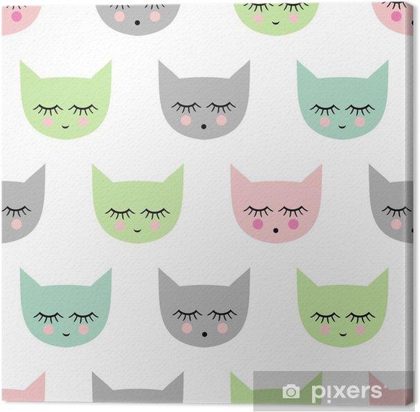 Obraz na płótnie Jednolite wzór z uśmiechem koty spania dla dzieci święta. Cute baby shower jasne tło wektor. Styl rysowania dla dzieci kotek. - Zwierzęta