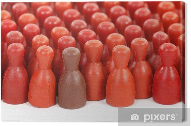Obraz na płótnie Jedyny w tłumie jest brązowy wszyscy inni są czerwone - Grupy i tłumy