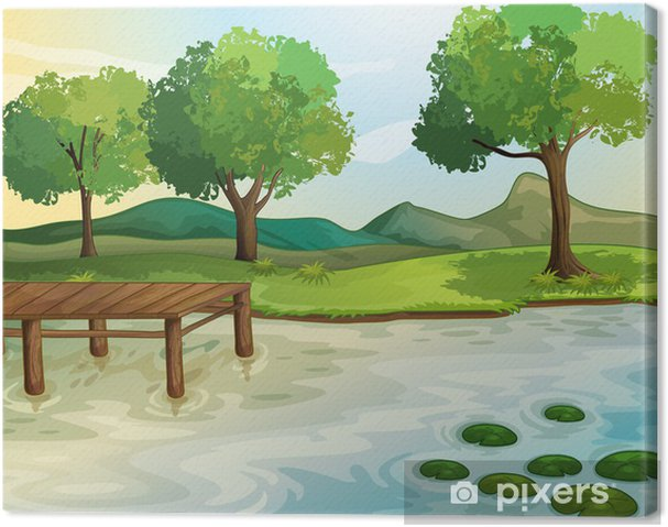 Obraz na płótnie Jezioro - Pejzaż miejski