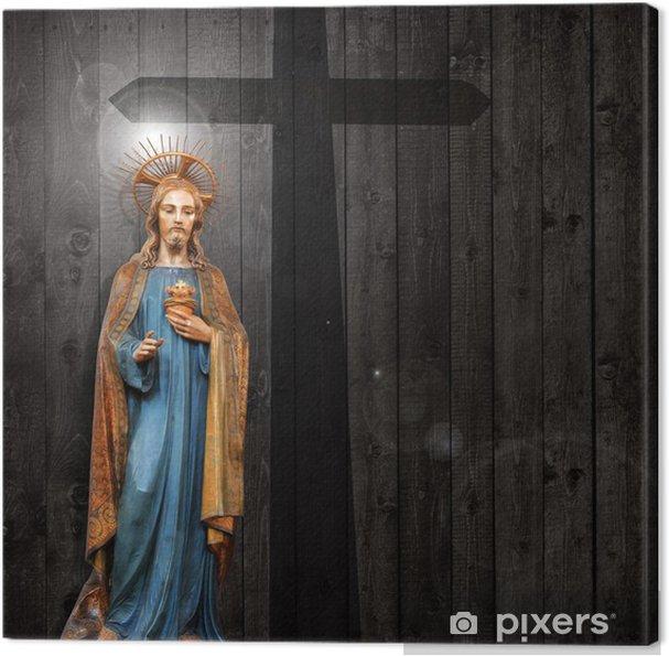 Obraz na płótnie Jezus Chrystus pomnik, krzyż, drewniane tle - Tematy