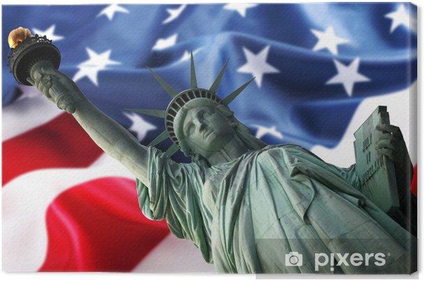 Obraz na płótnie Jork Statue of Liberty przeciwko flaga USA - Znaki i symbole