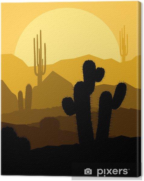 Obraz na płótnie Kaktus roślin w pustyni słońca wektora tle - Inne uczucia