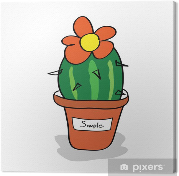 Obraz na płótnie Kaktus w doniczce z tagami - Rośliny