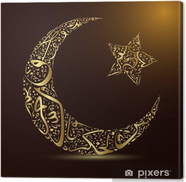 Obraz na płótnie Kaligrafia, księżyc i gwiazdy - Religie