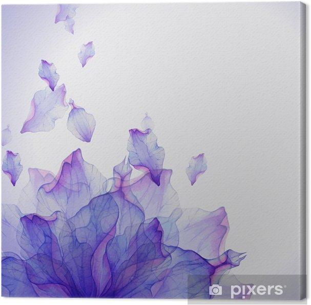 Obraz na płótnie Karta Akwarela z purpurowy kwiat płatek - Kwiaty i rośliny