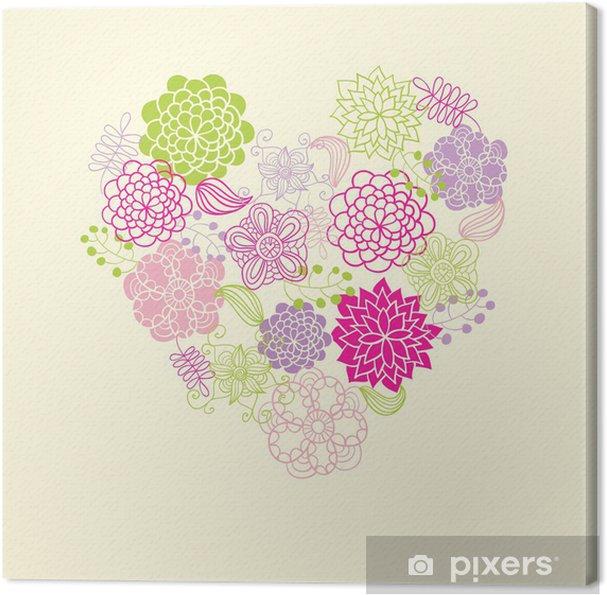 Obraz na płótnie Karta z kwiatowym sercem - Święta międzynarodowe