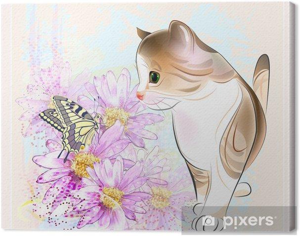 Obraz na płótnie Kartka urodzinowa z małym pręgowany kotek, kwiaty i motyl - Ssaki