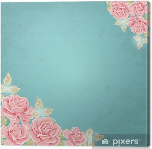 Obraz na płótnie Kartka z życzeniami. Wektor tła z róż - Style