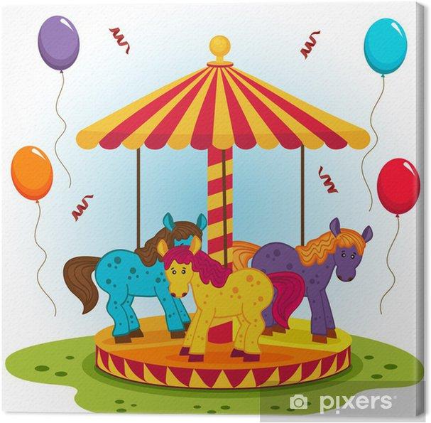 Obraz na płótnie Karuzela dla dzieci z końmi - ilustracji ...