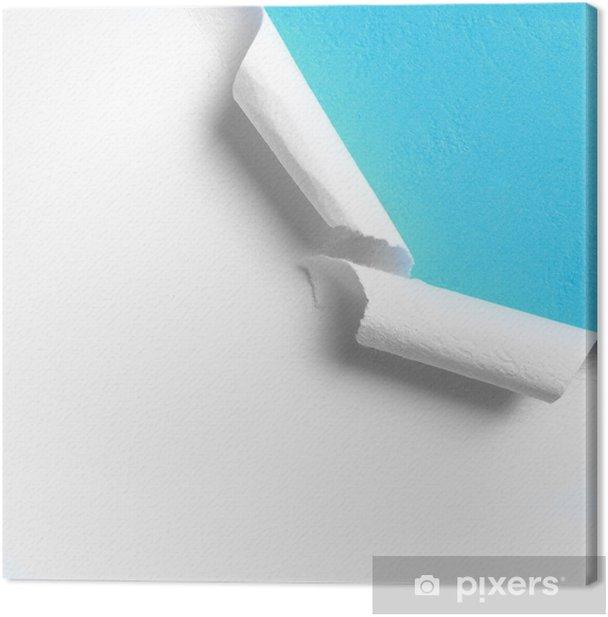 Obraz na płótnie Kawałek białego papieru z poszarpane krawędzi otworu - Tekstury