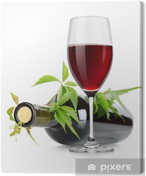 Obraz na płótnie Kieliszek do wina i butelka wina z winogron - Posiłki