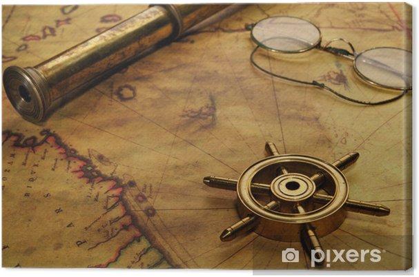 Obraz na płótnie Kierownica, szklanki i luneta na starej mapie - Sukces i osiągnięcia