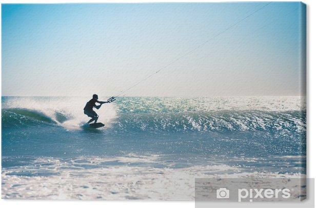 Obraz na płótnie Kite surfing na falach. - Sporty wodne