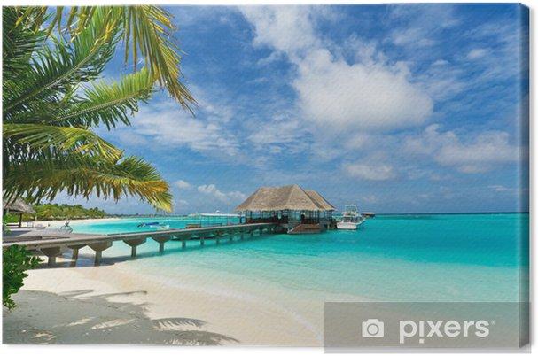 Obraz na płótnie Kładka łącząca ze strzechą molo w Malediwy - Morze i ocean