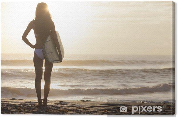 Obraz na płótnie Kobieta bikini surfer i deskę surfingową Sunset Beach - Zdrowie